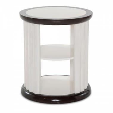 Круглый приставной столик с вертикальными наборными стенками, Espresso