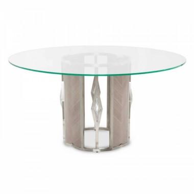 Круглый стол для обеда, стеклянный верх