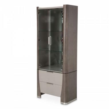 Высокий посудный шкаф/Дисплей-кабинет Ясень/Slate