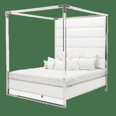 Кровать с кожаными пуфами и прозрачным балдахином, размер East King