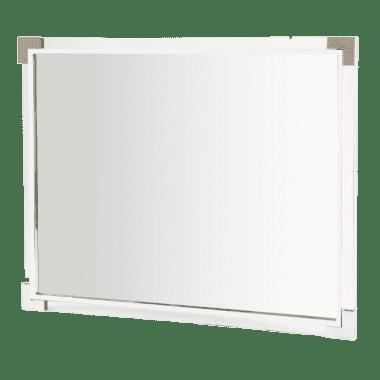 Акцентное настенное зеркало в раме полированного металла