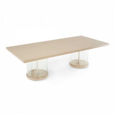 Прямоугольный обеденный стол на двойном пьедестале
