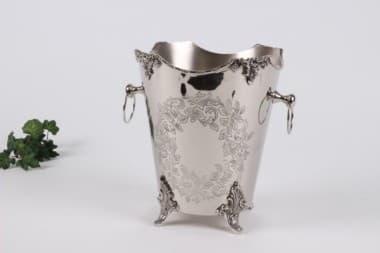 Ведерко для льда декоративное, с узорами, полированная сталь, чернение