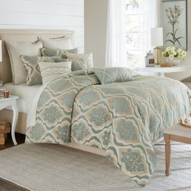 """Avery Manor"" Декоративное покрывало и подушки, набор из 10 предметов  (King), цвет Spa"
