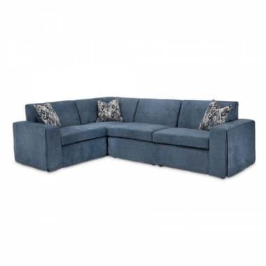 Софа секционная угловая, синяя, 3 декоративных подушки