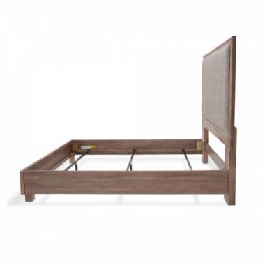 Кровать со строченой панелью, (3 предм) Размер Cal King, серая