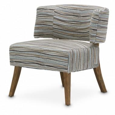 Кресло акцентное, спинка с ушами, цвет - Полосатая Галька