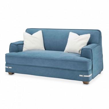 Софа 2-местная, цвет Деним, 2 декоративных подушки