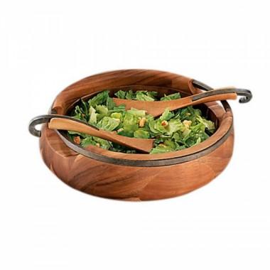 Овальная деревянная чаша Anvil для салата, с кулинарными ложками