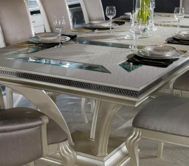 Большой обеденный стол со стеклянными вставками Pearl Caviar