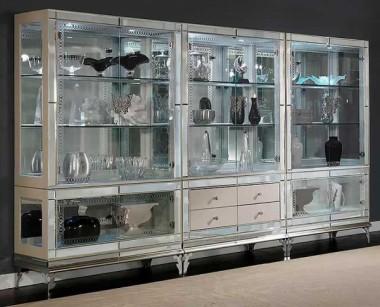 Книжный шкаф-витрина с ящиками Pearl Caviar